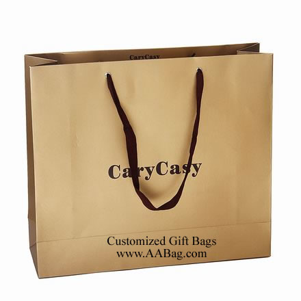 Brown Kraft Paper Bag with Cotton Tape For Clothes Packing