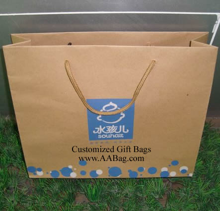 kraft Shopping paper bag with custom logo