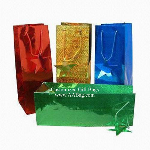 Color Hologram Paper Wine Bags