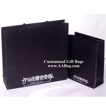 Black Paper Bag with white printed Logo